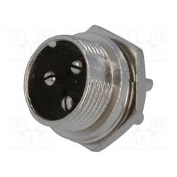Conector de micrófono macho 3 PIN para panel. Mod. MIC333