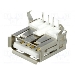 Conector hembra USB A THT angulares 90°. Mod. USBA-G
