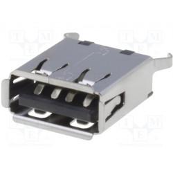 Conector hembra USB A THT recto V USB 2.0 dorado. Mod. USB-A-S-VT