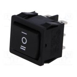 Interruptor ROCKER DP3T 3 Posiciones ON-OFF-ON 6A/250VAC negro. Mod. RS1333DBB7