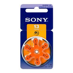 Pila zinc aire para audifonos blister de 6 unidades Sony PR48. Mod. PR13D6A