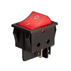 Interruptor bipolar 16(6) A./250V. Caja negra. Botón rojo. Luminoso. Mod. 0957