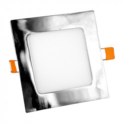 Panel Led Aluminio Cuadrado Cromo Empotrable 20W. Mod. 6526.2