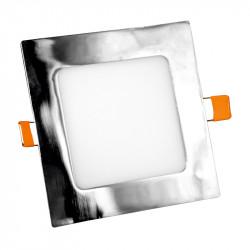 Panel Led Aluminio Cuadrado Cromo Empotrable 20W. Mod. 6526.2