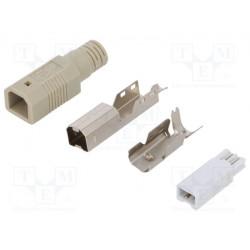 Conector USB B macho para soldar PIN:4 recto. Mod. LOG-UP0002