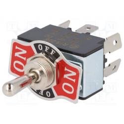 Interruptor de palanca 3 posiciones ON-OFF-ON 20A/12VDC. Mod. R13-28E-01-HPH