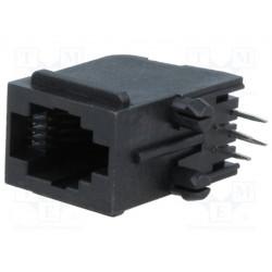 Conector hembra RJ9 4p4c THT. Mod. RJJU-44-143-E7V-011