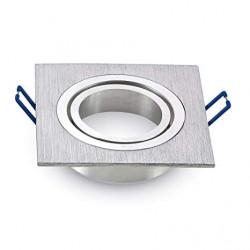 Aros Dicroica Basculante Aluminio Rayado cuadrado 91X91x25mm. Mod. VT-782SQ