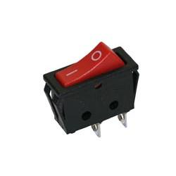 Interruptor unipolar luminoso 16(6)A./250V. Caja negra, botón rojo. Mod. 0954