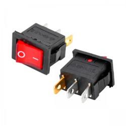 Interruptor unipolar 6A./250V. Negro y botón rojo luminoso. Mod. 0990-L