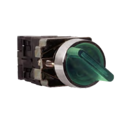 Selector rotativo 3 posiciones luminoso 230VAC Verde. Mod. ASB2BK3365