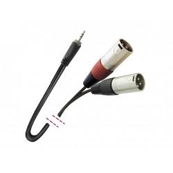 Conexión de señal 1 Mini Jack estéreo macho - 2 XLR 3 macho. 1,5m MARK. Mod. MK76