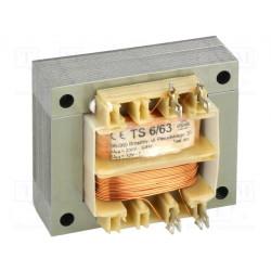 Transformador de red 6VA 230VCA a 12V 0,5A. Mod. TS6/63