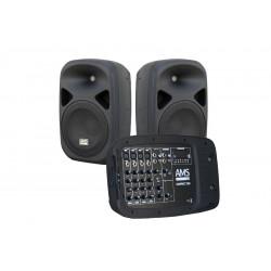 Set sistema portátil amplificado (2 x 150W) + reprductor MP3 + 1 micrófono. Mod. COMPACT 200