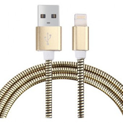 Cable USB a Lightning 8 Pines (Carga & Transferencia) Metal oro 1m Biwond. Mod. 804139