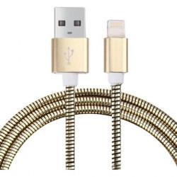 Cable USB a Lightning 8 Pines (Carga & Transferencia) Metal oro 1m Biwond. Mod. 804139