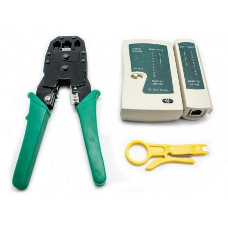 Kit Crimpadora+Tester Lan+Pelacables+100 Bridas BIWOND. Mod. 805478