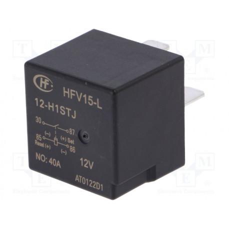 Relé electromagnético 12VCC 40A biestable 25Ω. Mod. HFV15-L/12-H1STJ