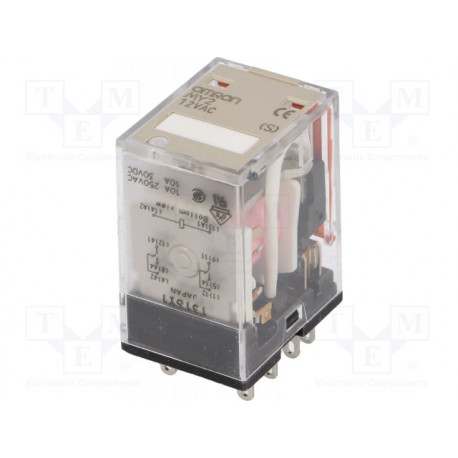 Relé electromagnético DPDT 12VCA 10A/220VCA 120W. Mod. MY2-12AC