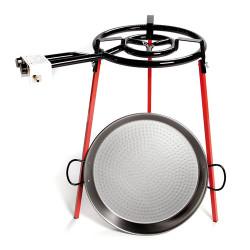 SET PAELLA 46 cm C/ soporte + paellera 46 cm + quemador 400 mm Vaello Campos. Mod. 6140