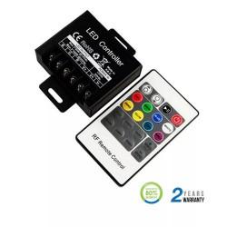 Controlador dimmer para tira LED RGB máx. 80/160W 6.2Ax3CH DC12/24V + mando RF. Mod. 3340