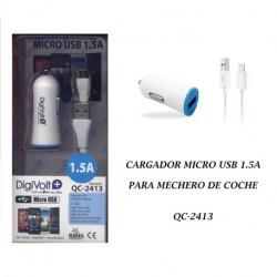 Cargador Micro Usb1.5am 12V Coche Digivolt. Mod. QC-2413