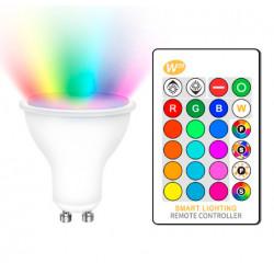 Bombilla LED GU10 5W RGBW con Mando. Mod. RU2016