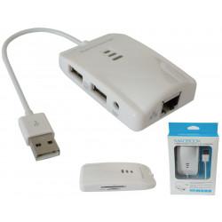 Adaptador USB multifunción 2xUSB+ Rj45 + SD. Mod. 0837