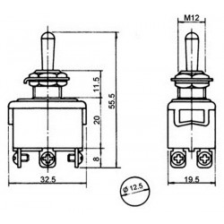 Interruptor palanca 6P. CON RETORNO (ON)-OFF-(ON) 250V. 10A. Mod. 2207