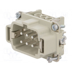 Conector rectangular macho EPIC H-BE 6PIN+PE tamaño H-B 6. Mod. 10190000