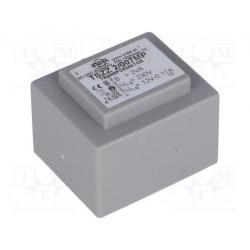 Transformador cerrado 2VA 230VCA 12V 0,16A PCB IP00. Mod. TSZZ2/007MP