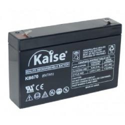 Batería plomo 6V 7Ah AGM KAISE. Mod. KB670