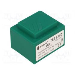 Transformador cerrado 6VA 230VCA 15V 400mA PCB IP00. Mod. TEZ6/D/15V