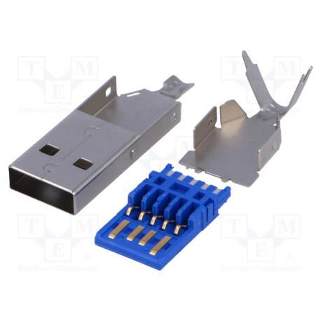 Conector USB A macho soldar USB 3.0. Mod. USBA-W3.0