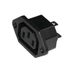 Conector Base hembra IEC320/CEE22. 10A./250V. Fijación a tornillo. Faston 6,3 mm. Mod. 0418
