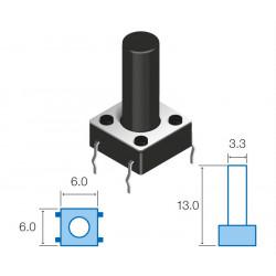Micropulsador tacto 6x6x13 mm. Mod. SW058