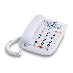 Teléfono fijo sobremesa blanco con teclas grandes Alcatel. Mod. TMAX20