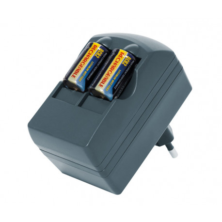 Cargador pilas litio CR2R y CR123 + 2 baterías CR2R. Mod. CAR130