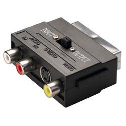 Conector adaptador Macho a Hembra euroconector con 3 RCA Hembras + Mini-Din 4c. S-Video. Mod. 0283