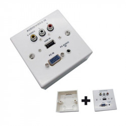 PLACA DE PARED VGA + JACK 3.5 + USB 2.0 + 3 x RCA Blanco