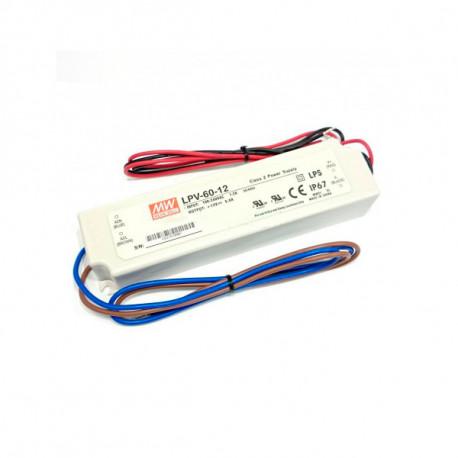 Fuente de alimentación para tiras LED Mean Well 60W 12VDC IP67. Mod. LPV-60-12