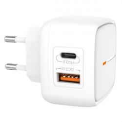 Cargador carga rápida USB C 18W + QUICK CHARGE 3.0 XO. Mod. XOL60
