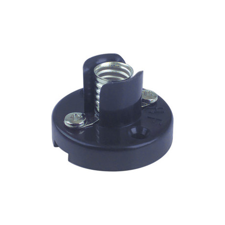 Portalámpara a rosca baquelita E-10 Negro Electro DH. Conexión a tornillo Mod. 12.060