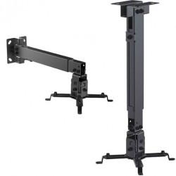 Soporte extensible proyector techo o pared negro. Mod. CR0662