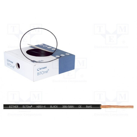 Cable 1x0.75mm2 negro 300/500V metro. Mod. LH075N