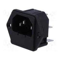 Conector alimentación IEC macho chasis 10A c/portafusible. Mod. 815-830