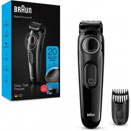 Recortadora Barba con Dial de Precisión y Peine Negro Braun. Mod. BT3222