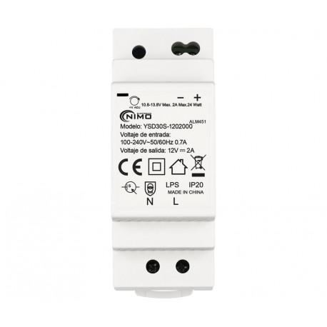 Fuente alimentación conmutada carril din 12V 2A 24W. Mod. ALM451