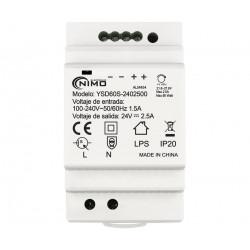 Fuente alimentación conmutada carril din 24V 2.5A 60W. Mod. ALM454