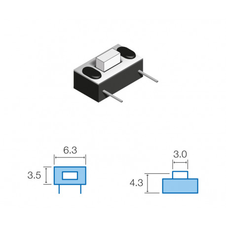 Pulsador de tacto horizontal 6,3x3,5mm. Mod. SW045